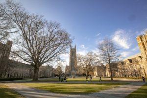 Panoramtic view of Duke University campus quad, looking toward Duke Chapel.